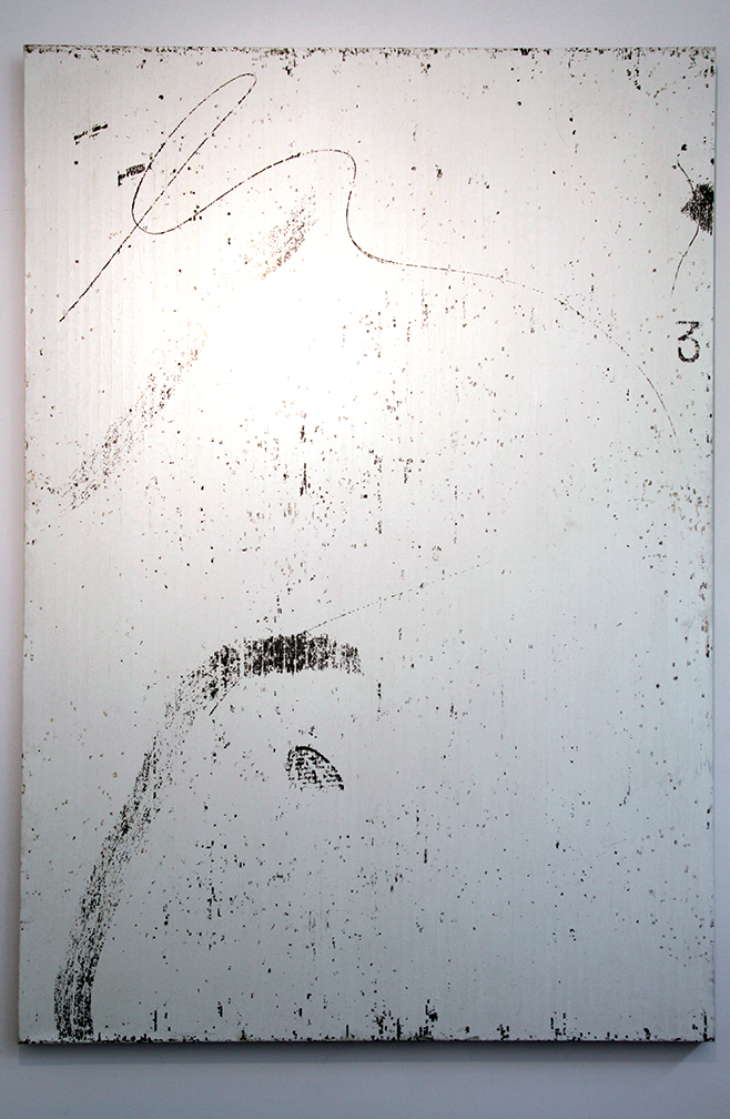 """Gregor Hildebrandt creates many of his artworks from cassette tapes. In some cases, as with this piece, he glues the tape to a canvas and before peeling the audio tape back off again, he applies pressure through footsteps, scratching, etc, so that the emulsion stays on the canvas where he has effected it. Those works are names after the music that was recorded on that tape, which he was most likely listening to while making his marks on them. This one is titled """"Neues vom Trickser (Toco) IV"""" by the band Tocotronic."""