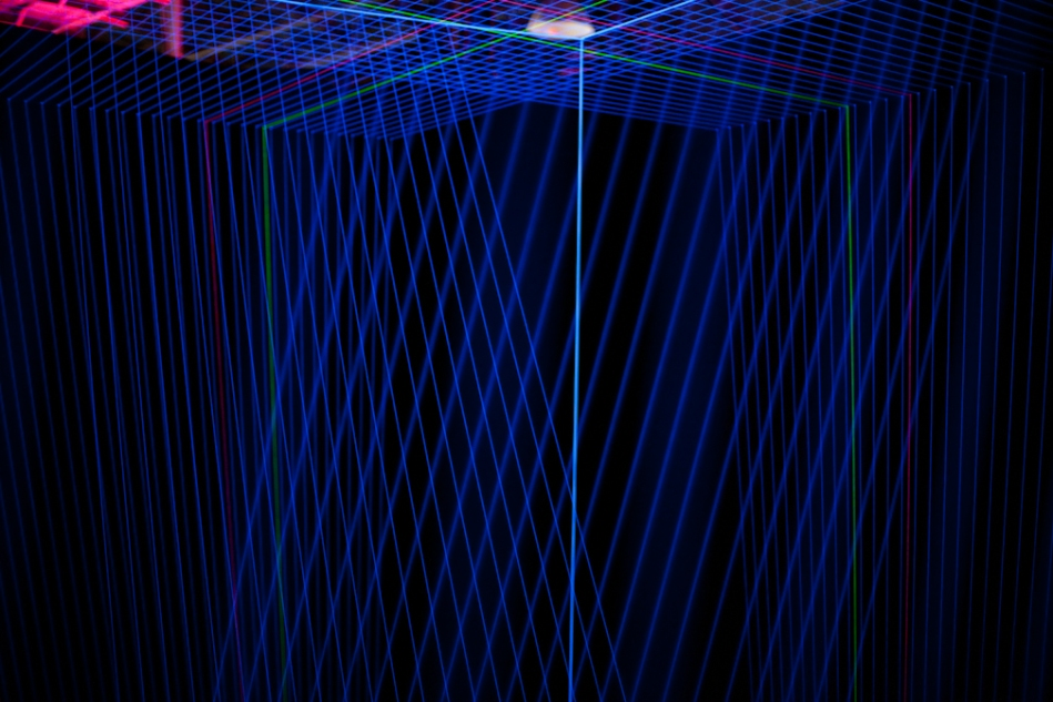 "Jeongmoon Choi's ""?"" from UV lights and string"