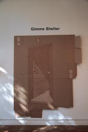 """work in cardboard by Vincent Samudovsky, entitled """"Refuse/Refuge (Numero Ocho)"""""""